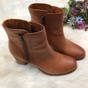 FRYE Natural Addie Double Zip Leather Booties